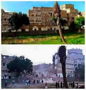 Jeden z zabytków przed i po bombardowaniu/ facebook.com/Stopwaronyemen