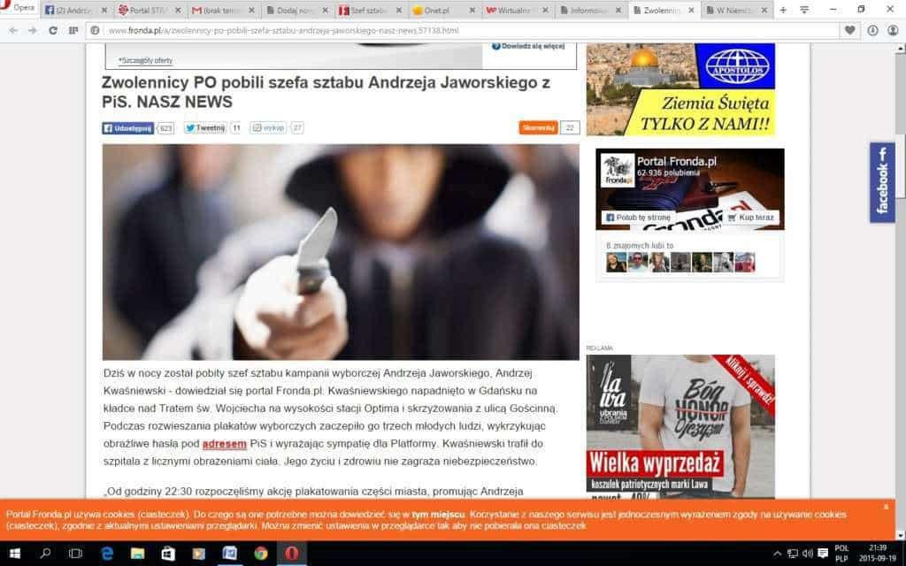 Kampania wyborcza w katolickim tabloidzie: pobity szef sztabu PiS