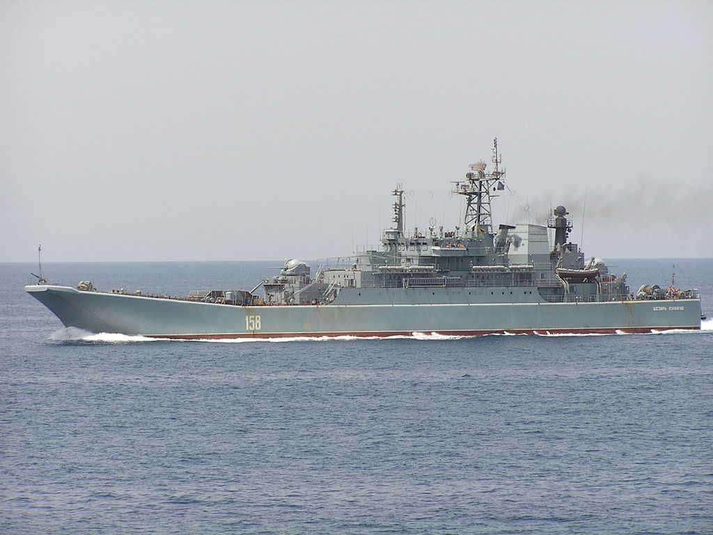 Rosyjski okręt desantowy Cezar Kunikow / Żródło: Wikimedia Commons
