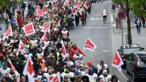 Członkowie Verdi podczas manifestacji pracowniczej w Hesji / facebook.com/ver.di