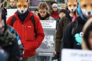 Protest pod Sejmem RP przeciwko hodowli lisów i jenotów na futra, fot. facebook.com/Otwarte Klatki