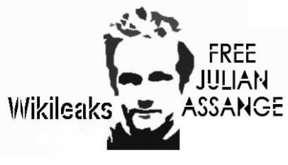 Wizerunek J. Assange'a + napis Free Julian Assange