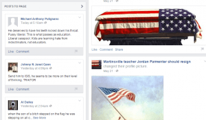 Zrzut ekranu ze strony na FB szkalującej Jordana Parmentera.