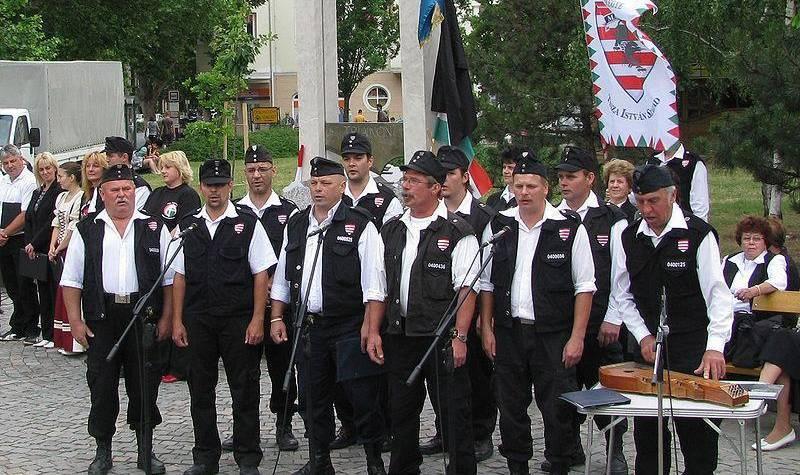 Zdjęcie grupy osób w mundurach formacji Węgierska Gwardia