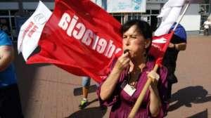 protest pod jednym z marketów Tesco w Częstochowie / solidarnosc.org.pl
