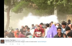 Atak sił policyjnych na imigrantów, granica macedońsko-grecka /twitter.com
