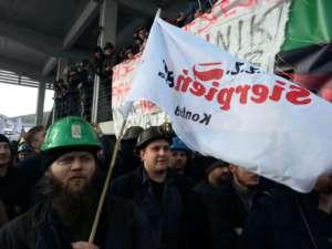 Protest pod kopalnią Budryk. Jedną z czterech kopalń, które kilka miesięcy miały zostać zamknięte przez rząd Ewy Kopacz / fot. Marcelina Zawisza