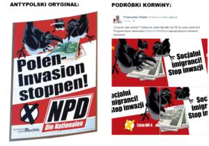 Po lewej - plakat neonazistowskiej NPD, po prawej grafika partii KORWiN / facebook.com/wipler