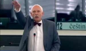 Janusz Korwin - Mikke wykonuje hitlerowskie pozdrowienie podczas sesji Parlamentu Europejskiego / youtube.com