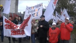 Dzisiejszy protest pracowników MOPR w Grudziądzu /youtube.com