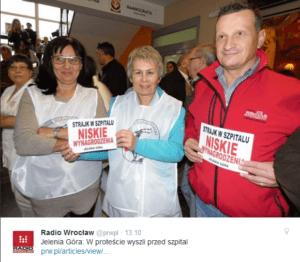 Protestujący pracownicy jeleniogórskiego szpitala / twitter.com