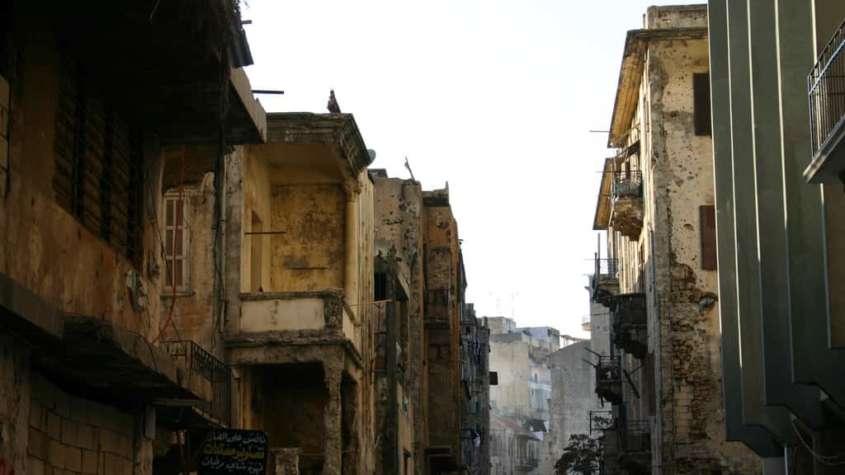 Bejrut zrujnowany po wojnie domowej w Libanie, fot. Wikimedia Commons