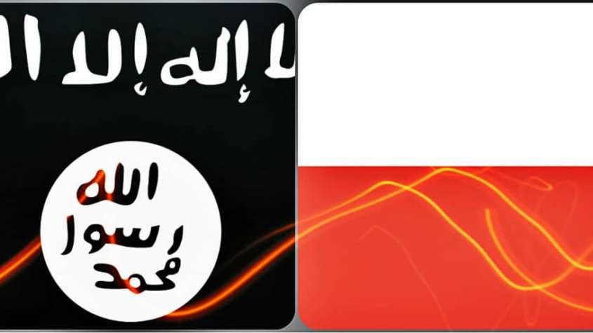 Flagi Polski i tzw. Państwa Islamskiego