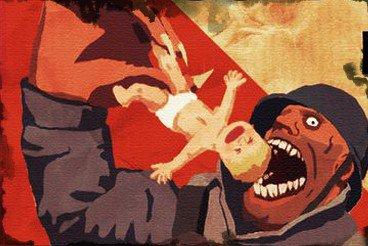 Żołnierz zjada dziecko