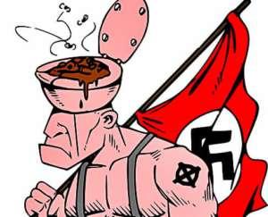 Karykatura prawicowego bojówkaza