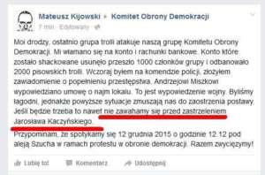 Wpis z fałszywego konta Mateusza Kijowskiego