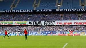 Obraźliwy baner na stadionie Lecha Poznań, sierpień 2013 / youtube.com