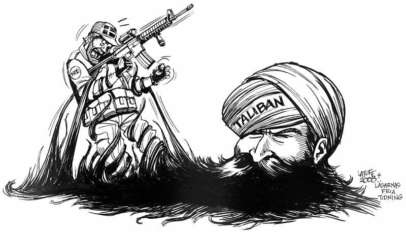 Klęska koalicji w walce z talibami, karykatura Carlosa Latuffa / https://archive.org/details/SwedenToSendMoreTroopsToAfghanistan