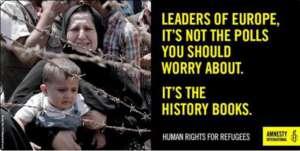 """Amnesty International upomina polityków """"Przywódcy, powinniście martwić się o to jak zapamięta was historia, a nie o bieżące sondaże""""  źródło: https://twitter.com/amnestyni/status/691588499435294720"""