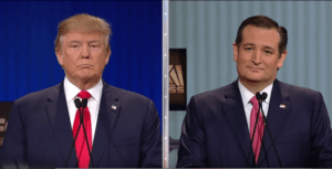 Donald Trump i Ted Cruz podczas debaty /youtube.com