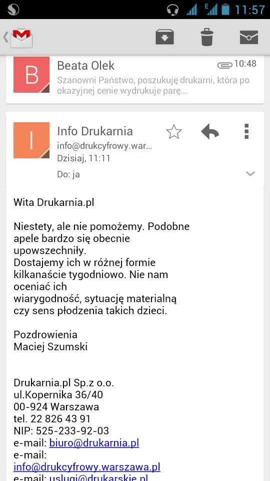 Zrzut ekranu z korespondencji z Maciejem Szumskim.