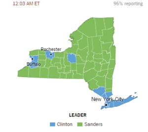 Sanders wyraźnie wygrał w słabiej zaludnionych stanach / zrzut ekranu z nytimes.com