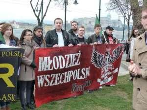 Młodziez Wszechpolska z 2015 ramię w ramię z Jobbikiem demonstuje w Budapeszcie, fot. wikimedia commons