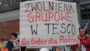 Pikieta pracowników Tesco w centrum Silesia w Katowicach/facebook.com/NSZZSolidarnoscTesco