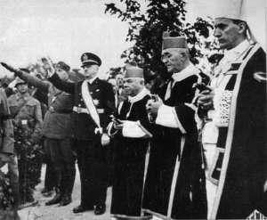 Rola kościoła katolickiego w Chorwacji podczas drugiej wojny światowej była wyjątkowo niechlubna. Na zdjęciu Stepinac - pierwszy od prawej. Fot. wikimedia commons