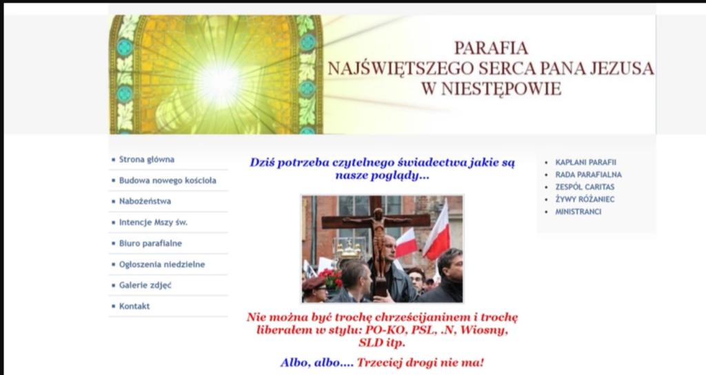 Zrzut ekranu - komunikat na stronie internetowej parafii.