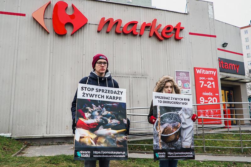 Aktywiści stowarzyszenia Otwarte Klatki protestują przed wejściem do jednego ze sklepów wielkopowierzchniowych sieci Carrefour Market w Krakowie, foto: Otwarte Klatki