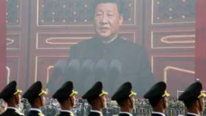 Xi Jinping podczas przemówienia w 70. rocznicę utworzenia ChRL, źródło: Twitter